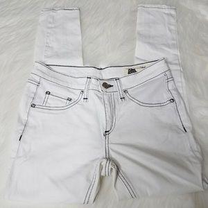 Rag & Bone White Contrast Stitching Skinny Jeans